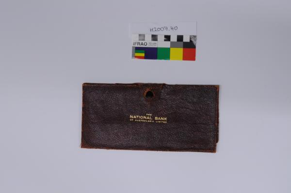 WALLET, leather, 'The National Bank of Australasia Limited'