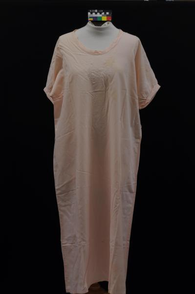 NIGHTDRESS, pink, linen?, hand embroidered