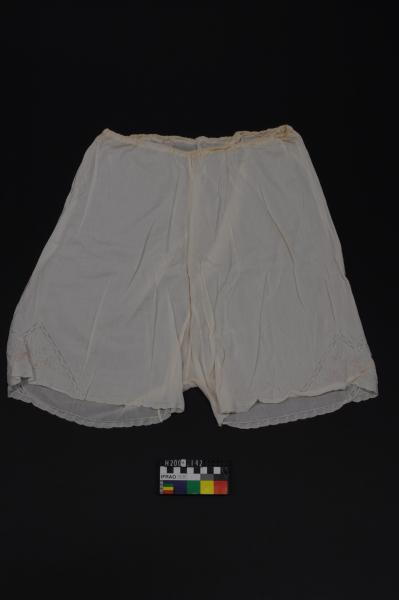 BLOOMERS, linen, lace trim, embroidered legs
