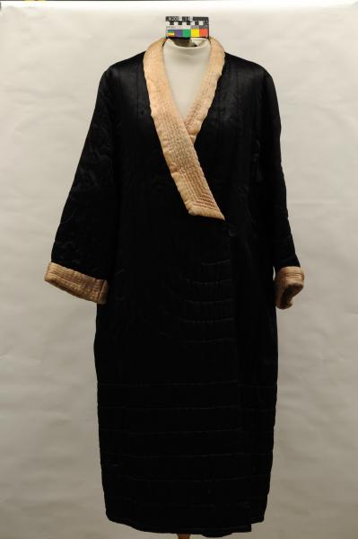 DRESSING GOWN, black, satin, quilted