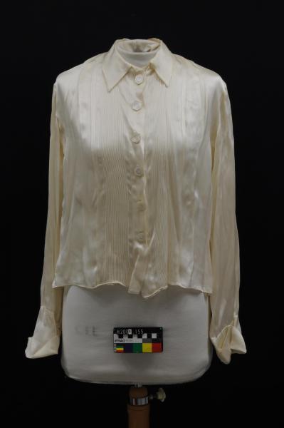 BLOUSE, cream, satin, long-sleeved, tuck pleats