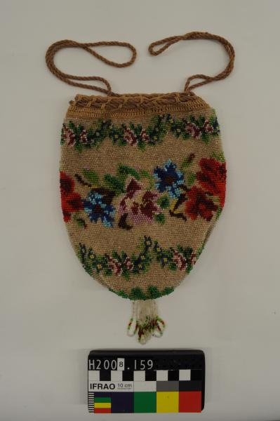 BAG, drawstring, floral pattern, beaded