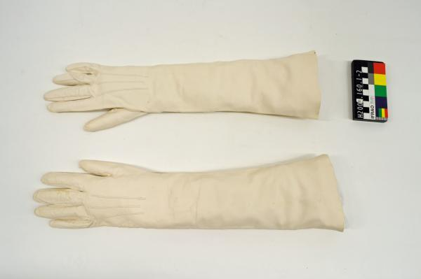 GLOVES, evening, long, cream, kid leather