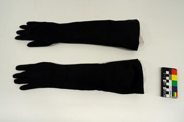 GLOVES, evening, long, black, kid leather suede
