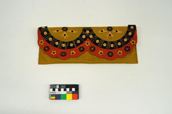 GLOVE BAG, mustard, felt, appliquéd