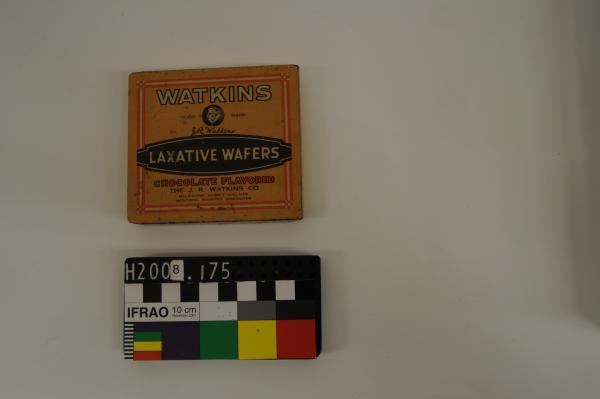 'WATKINS/ LAXATIVE WAFERS/ CHOCOLATE FLAVORED'[sic], square