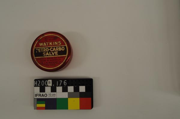 TIN, 'WATKINS/ PETRO-CARBO/ SALVE', cylindrical, red