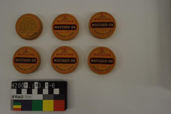 TINS, x6, 'WATKINS/ MUSTARD-ON', sample size