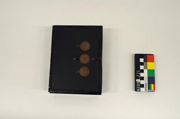 "STRONG BOX, '""Sermos""', black, brass dials x3"