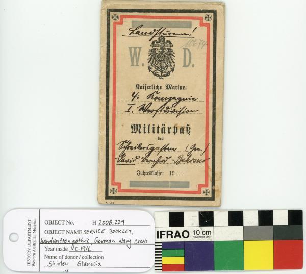 SERVICE BOOKLET, German, Navy crest, handwritten