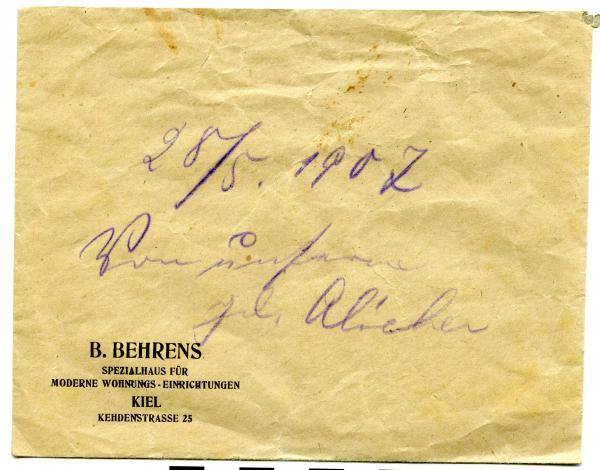 LOCKET OF HAIR, 'B. BEHRENS', in envelope