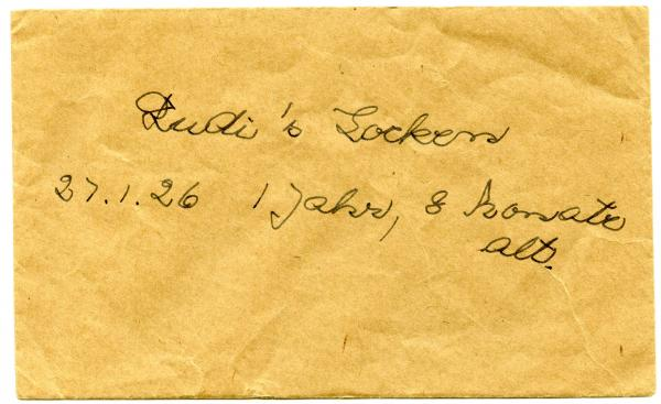 LOCKET OF HAIR, 'Rudi's Locken/27.1.26', in envelope x2