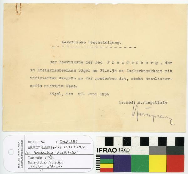 DEATH CERTIFICATE, Leo Freudenberg, 'Aerztliche...'
