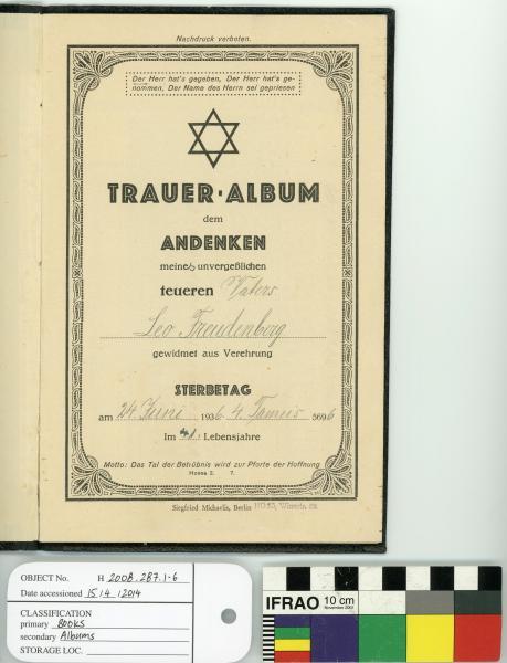 MOURNING ALBUM, Leo Freudenberg, 'TRAUER ALBUM'