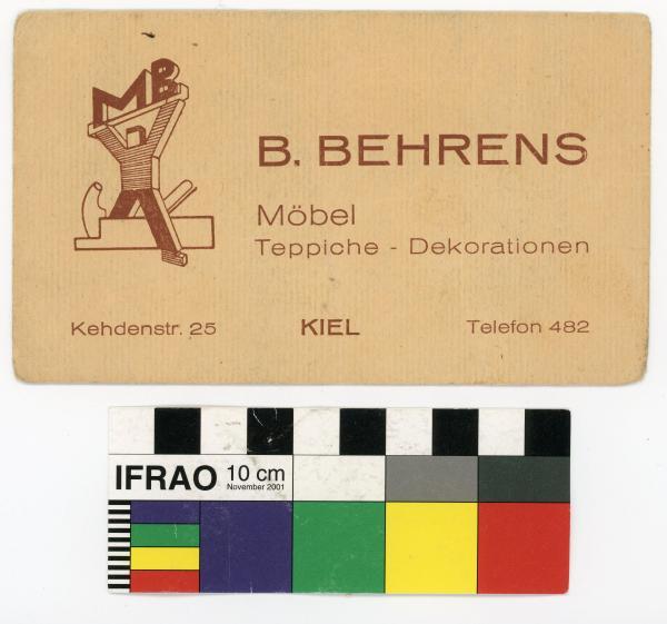 BUSINESS CARD, 'B. BEHRENS/ Möbel/…'