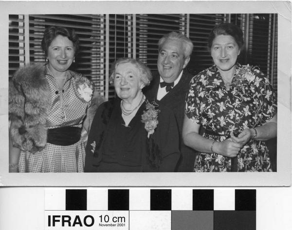PHOTOGRAPH, b&w, 4 x formally dressed adults, venetian blinds in background, Perth, c.1953