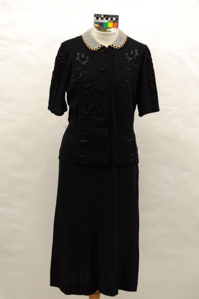DRESS, black, crepe, floral applique
