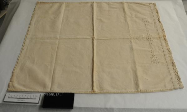 PILLOWCASES, pair, cream linen, hand-embroidered 'DS', lace insertion, pull-thread work