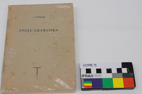 """BOOK, text, 'Anglu Gramatika,"""" plastic covered, brown cover"""