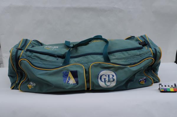 CRICKET GEAR BAG, green, Geoff Marsh, 'ACB', with small nurofen tube