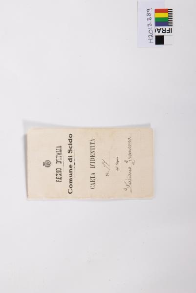 IDENTITY CARD, Italian, 'REGNO D'ITALIA / Comune di Scido/ CARTA D'IDENTITA/ N.'77'/ del Signor/ 'Italiano Francesca', 1928