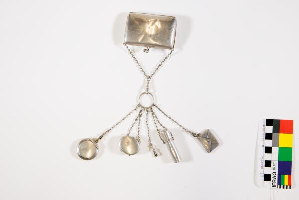 CHATELAINE, Birmingham Silver with six attachments