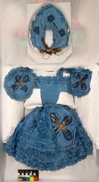 COSTUME, with CAP, dance, blue and gold floral silk
