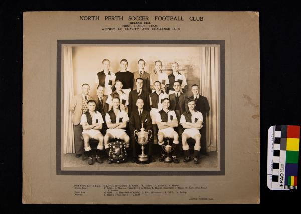 PHOTOGRAPH, b&w, mounted, North Perth Soccer Football Club, First League Team, 1947