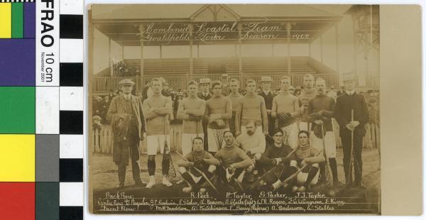 PHOTOGRAPH, postcard, sepia, group portrait, lacrosse, 'Combined Coastal Team/Goldfields Tour Season 1908'