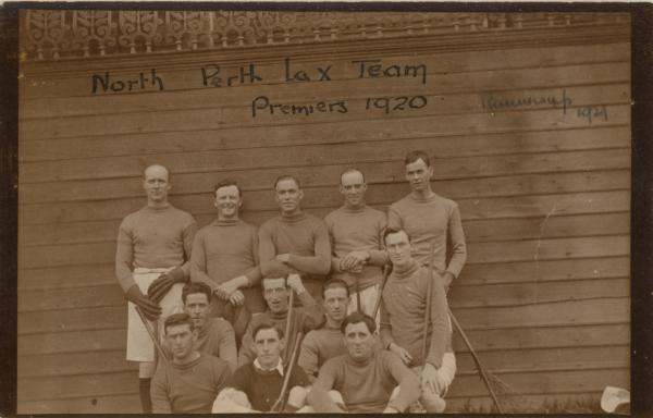 PHOTOGRAPH, Kodak postcard, b&w, sepia, group portrait, North Perth Men's lacrosse team, Premiers, 1920