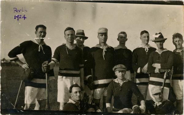 PHOTOGRAPH, Kodak postcard, b&w, group portrait, men's lacrosse team, Perth 1924