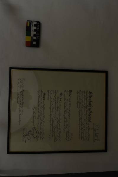 CERTIFICATE, framed, MBE, May Pearce-Campbell