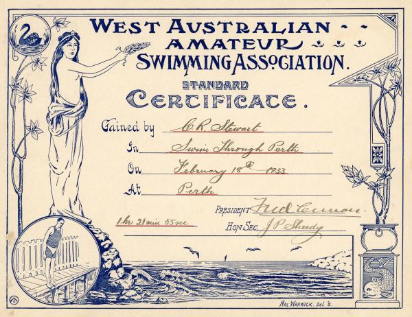 CERTIFICATES, x6, swimming, WAASA, Clement Stewart, 1931-1943