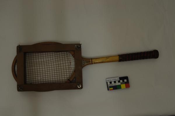 TENNIS RACQUET,  red/ black grip, yellow handle, in wooden press, Dunlop, 1930-1940s