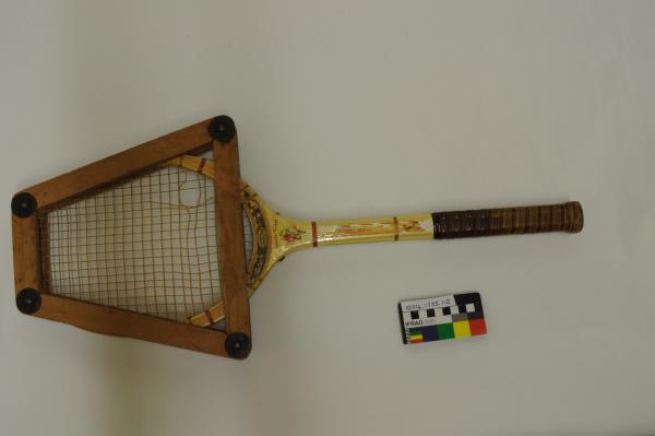 TENNIS RACQUET, brown grip, yellow handle, in wooden press, Slazenger, 'Coronation', 1930-1940s