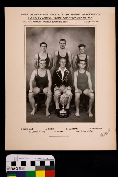 PHOTOGRAPH, b&w, swimming, Flying Squadron team champions, Claremont, 1945-1946