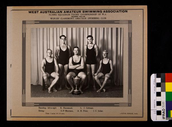 PHOTOGRAPH, b&w, swimming, Flying Squadron champions, CASC, 1947-1948