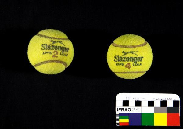 TENNIS BALLS, x2, 'Slazenger', Margaret Court, 1970s