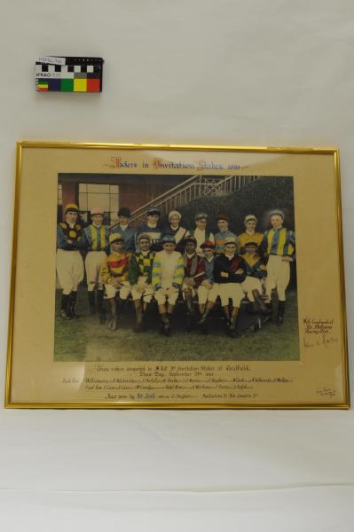 PHOTOGRAPH, framed, b&w hand coloured, horseracing, '3rd Invitation Caulfield Stakes 24 Sep 1953', Frank Treen