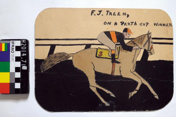DRAWING, collage, paint on cardboard,  'F.J TREEN/ ON A PERTH CUP WINNER', by Frank Treen Snr, 1940s