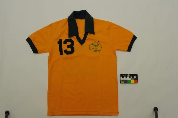 LACROSSE UNIFORM, Australian, green, yellow floral embroidered emblem, 'BRINE WORLD 82 LACROSSE TOURNAMENT', Rae Reid, 1982