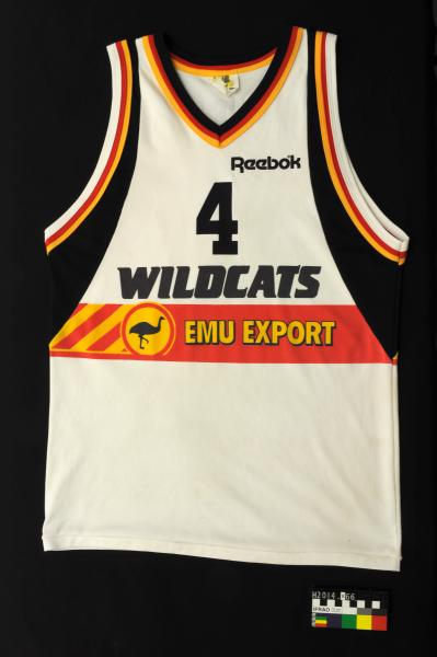 BASKETBALL SINGLET, white with black/red/gold trim, Perth Wildcats, no. 4, 'WATTO' (Eric Watterson), 1990s