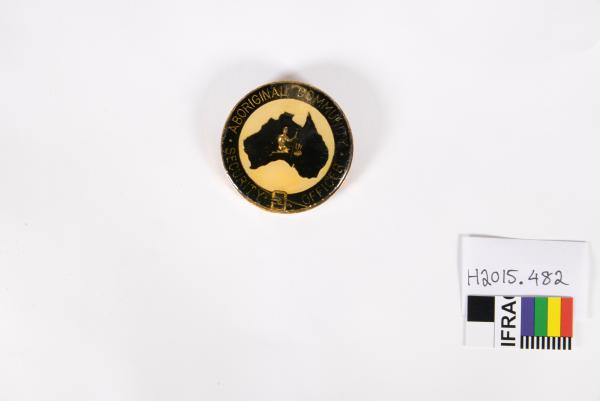 BADGE, enamelled, large, circular, Noongar community 'ABORIGINAL COMMUNITY/ SECURITY OFFICER'