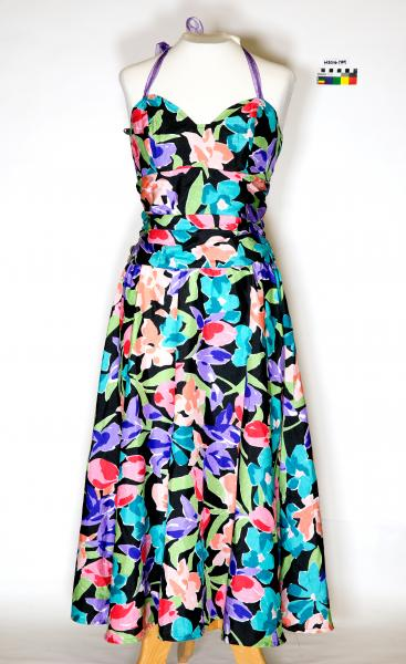 DRESS, coloured floral pattern, black background, ruched waist, purple ribbon straps, B&S Ball