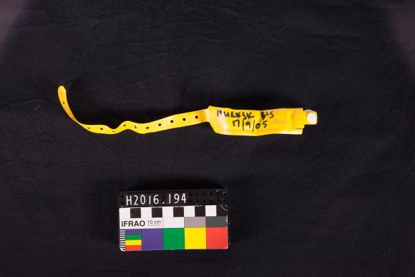 WRIST BAND, yellow, plastic, 'MURESK B+S 17/09/05'