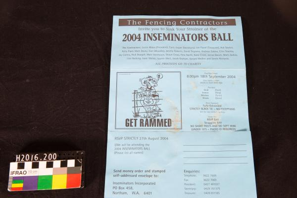 PAMPHLET, blue card, 'The Fencing Contractors Invite you to Sink Your Strainer at the 2004 INSEMINATORS BALL', Muresk B&S