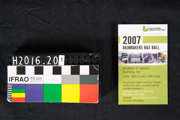 ADVERTISING CARD, green & white, '2007 RAINMAKERS B&S BALL', Quairading