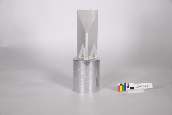 TROPHY, silver metal base, glass prism, 'PRINCE PHILIP PRIZE/ BEN LEXCEN'