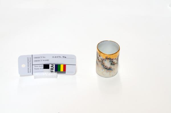 TOOTHPICK HOLDER, small, cylindrical, gilded and handpainted with floral design by Bevely Young