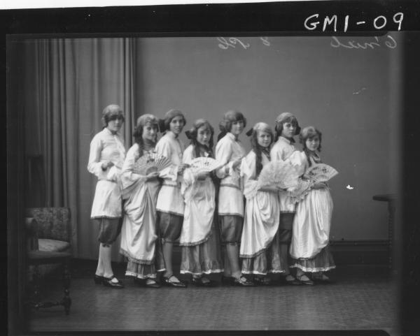 Eight young people in costume from a theatre group,'O'Niel'.